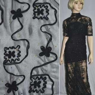 Сетка стрейч черная с настроченными черными цветами и бусинами ш.140