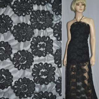 Сетка черная с нашитыми черными цветами из тафты