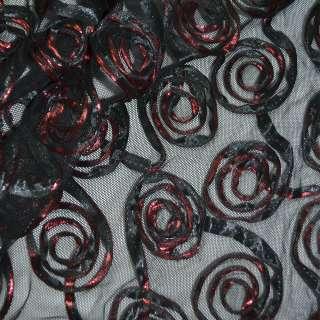 Сетка стрейч черная с красными цветами, ш.140