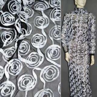 Сетка стрейч черная с белыми цветами, ш.140