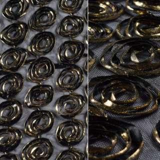 Сетка стрейч черная с золотыми цветами, ш.140