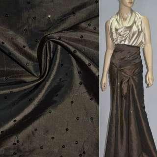 Тафта коричневая светлая с вышивкой