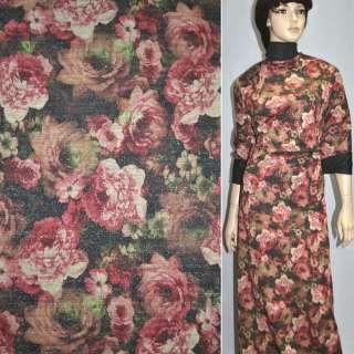 Джерси черное с бордово-бежевыми цветами с блестками ш.156