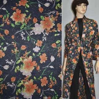 Джерси синее темное с оранжевыми цветами с блестками ш.157
