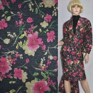 Джерси черное с малиновыми цветами с блестками ш.152