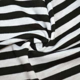 Трикотаж с вискозой в полоски 10мм белые и черные ш.180