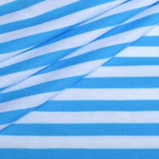 Трикотаж с вискозой в полоски 9мм белые и голубые светлые ш.180