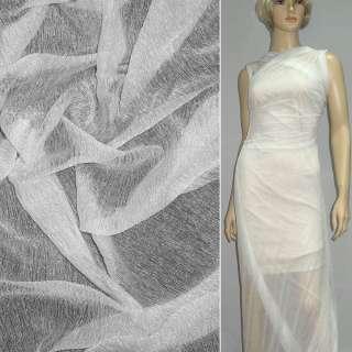 Трикотаж жатый прозрачный белый ш.160