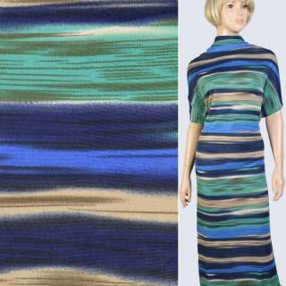 Трикотаж в синюю, зеленую размытую полоску, ш.160