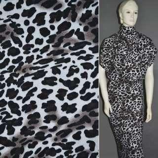 Трикотаж c шерстью молочный в черный принт леопард ш.165