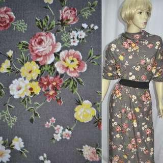 Трикотаж c шерстью серый с бежево-розовыми и желтыми цветами ш.165