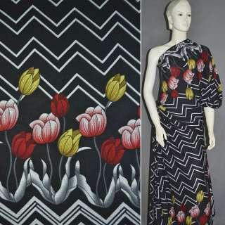 Трикотаж c шерстью черный, 2-ст. купон с желто-красными тюльпанами ш.165
