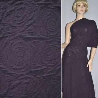 Трикотаж Фукра фиолетовый с розами ш.140