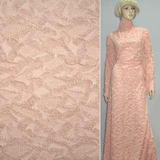 Трикотаж розово-молочный рваный ш.150