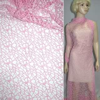 Сетка кружево паутинка розовая ш.160