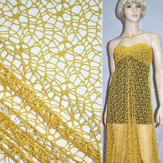 Сетка кружево паутинка желтая ш.160