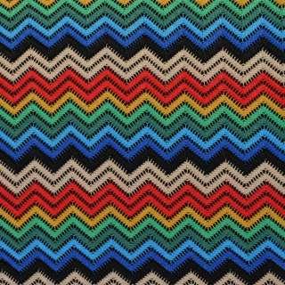 Трикотаж ажурный зигзаг красно-сине-зеленый, ш.150