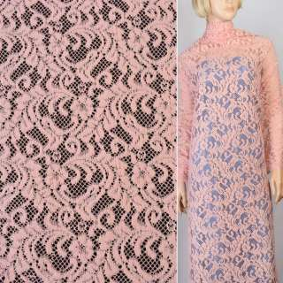 Трикотаж ажурный розовый с веточками ш.152