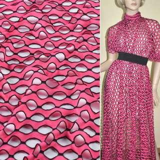 Трикотаж розовый волны с овальными дырочками ш.160