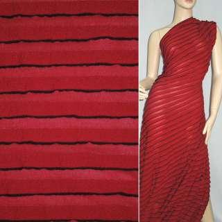 Трикотаж красный с черными полосками и рюшами ш.160