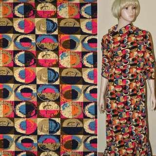Трикотаж с шерстью в коричнево-малиновые квадраты с цветными овалами ш.170