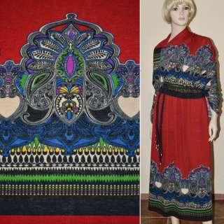 Трикотаж с шерстью красный с серо-синими огурцами раппорт ш.170