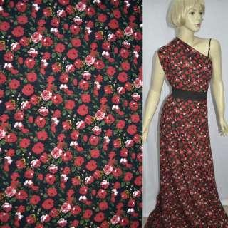 Трикотаж черный в красные розы ш.160