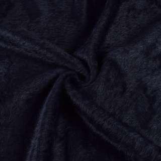 Ангора длинноворсовая трикотаж черно-синяя ш.130