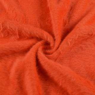 Ангора длинноворсовая трикотаж оранжевая яркая ш.130