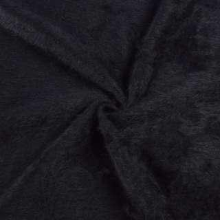 Ангора длинноворсовая, трикотаж черная на фиолетовой основе в полоску ш.140
