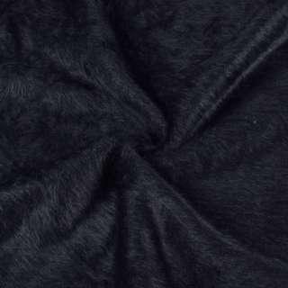 Ангора длинноворсовая трикотаж сине-черная плотная ш.135