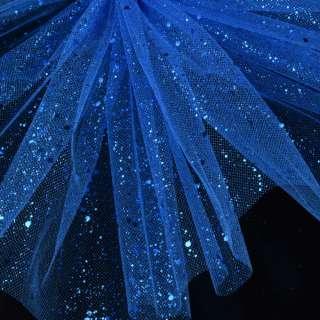 Фатин жесткий с блестками синий ультрамарин ш.160