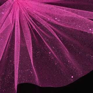 Фатин жесткий с блестками малиновый яркий ш.160