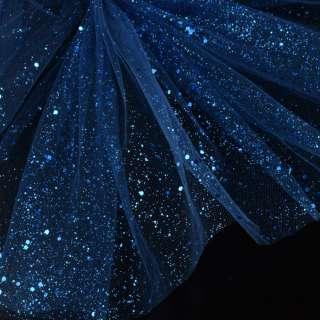 Фатин жесткий с блестками синий темный ш.160