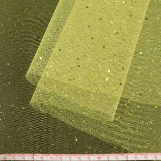 Фатин жесткий с блестками лимонный ш.160
