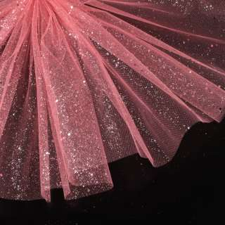 Фатин жесткий с блестками розовый чайная роза ш.160