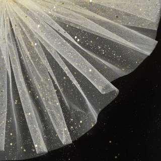 Фатин жесткий с блестками золотистыми молочный ш.160