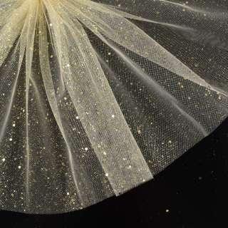 Фатин жесткий с блестками золотистыми кремовый ш.160