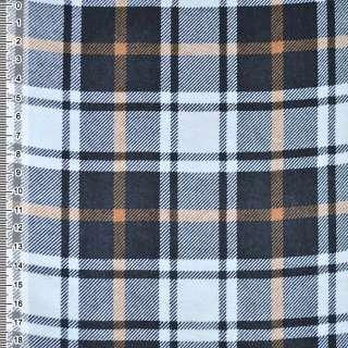 Фланель белая в черно-оранжевые квадраты ш.105