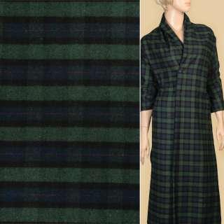 Фланель рубашечная зеленая в черно-синюю клетку ш.145
