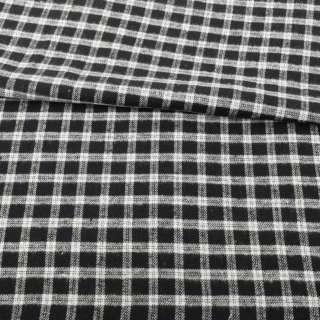 Фланель рубашечная черная в белую клетку ш.145