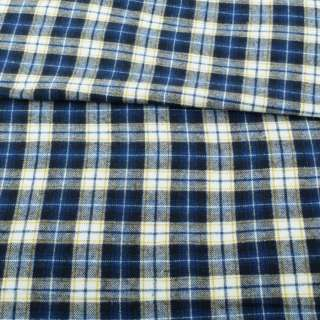 Фланель рубашечная синяя в бело-желтую клетку ш.148