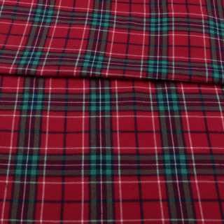 Фланель рубашечная красная в зеленую клетку ш.152