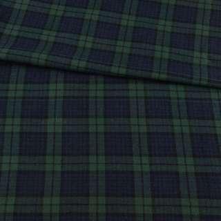 Фланель рубашечная синяя темная в зелено-черную клетку, ш.145