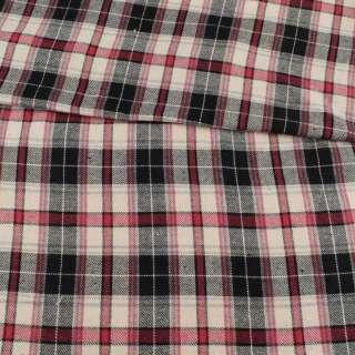 Фланель рубашечная молочная в красно-черную клетку, ш.145