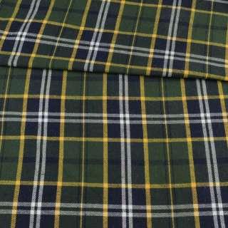 Фланель рубашечная синяя темная в зелено-желтую клетку, ш.145