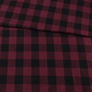 Фланель рубашечная бордовая в крупную черную клетку, ш.150