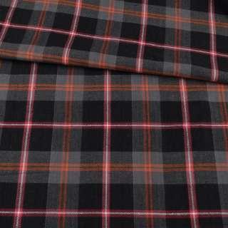 Фланель рубашечная черная в серо-оранжевую, красную клетку, ш.145