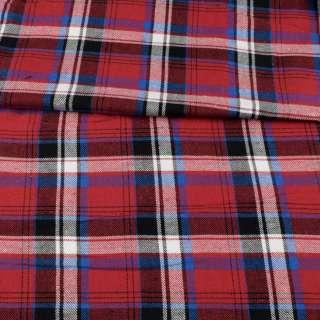 Фланель рубашечная красная в черно-голубую, белую клетку, ш.145