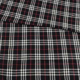 Фланель рубашечная черная в бело-красную клетку, ш.150